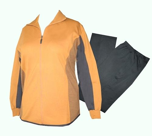 Leger fallend, Jacke mit 2 Taschen. Hose mit 2 Taschen und breitem Gummi  Bund sowie genähte Bügelfalte. Sehr bequem und angenehm zu tragen. 0ab956b745